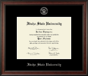Idaho State University Diploma Frame - Silver Embossed Diploma Frame in Studio
