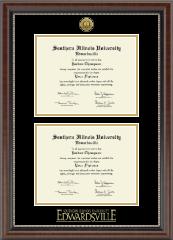 Southern Illinois University at Edwardsville Diploma Frame - Gold Engraved Double Diploma Medallion Frame in Chateau