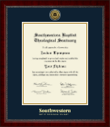 Southwestern Baptist Theological Seminary Diploma Frame - Gold Engraved Medallion Diploma Frame in Sutton