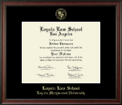 Loyola Law School Los Angeles Diploma Frame - Gold Embossed Diploma Frame in Studio