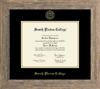 South Plains College Diploma Frame - Gold Embossed Diploma Frame in Barnwood Gray