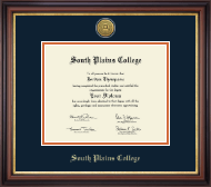 South Plains College Diploma Frame - Gold Engraved Medallion Diploma Frame in Regency Gold