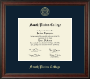 South Plains College Diploma Frame - Gold Embossed Diploma Frame in Studio