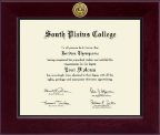 South Plains College Diploma Frame - Century Gold Engraved Diploma Frame in Cordova
