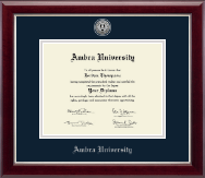 Ambra University Diploma Frame - Silver Engraved Medallion Diploma Frame in Gallery Silver