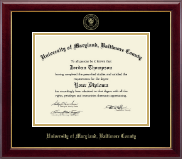University of Maryland, Baltimore County Diploma Frame - Gold Embossed Diploma Frame in Gallery