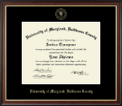 University of Maryland, Baltimore County Diploma Frame - Gold Embossed Diploma Frame in Studio Gold