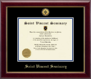 Saint Vincent Seminary Diploma Frame - Gold Engraved Medallion Diploma Frame in Gallery