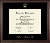 Anderson University in South Carolina Diploma Frame - Gold Embossed Diploma Frame in Studio