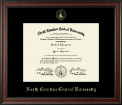 North Carolina Central University Diploma Frame - Gold Embossed Diploma Frame in Studio