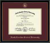 North Carolina Central University Diploma Frame - Gold Embossed Diploma Frame in Onexa Gold