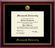 Monmouth University Diploma Frame - Gold Engraved Medallion Diploma Frame in Gallery