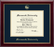 Monmouth University Diploma Frame - Gold Embossed Diploma Frame in Gallery