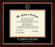 St. John's College-Annapolis Diploma Frame - Gold Embossed Diploma Frame in Murano