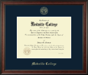 Medaille College Diploma Frame - Gold Embossed Diploma Frame in Studio