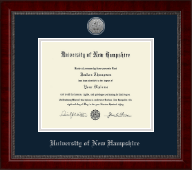 University of New Hampshire at Manchester Diploma Frame - Silver Engraved Medallion Diploma Frame in Sutton