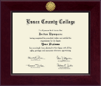 Essex County College Diploma Frame - Century Gold Engraved Diploma Frame in Cordova