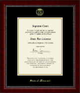 State of Missouri Certificate Frame - Gold Embossed Certificate Frame in Sutton