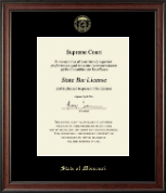 State of Missouri Certificate Frame - Gold Embossed Certificate Frame in Studio