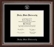 Idaho State University Diploma Frame - Silver Embossed Diploma Frame in Devonshire