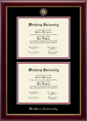 Winthrop University Diploma Frame - Masterpiece Medallion Double Diploma Frame in Gallery