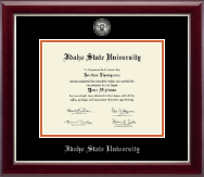 Idaho State University Diploma Frame - Masterpiece Medallion Diploma Frame in Gallery Silver