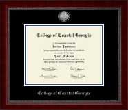 College of Coastal Georgia Diploma Frame - Silver Engraved Medallion Diploma Frame in Sutton