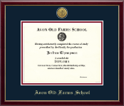Avon Old Farms School in Connecticut Diploma Frame - Gold Engraved Medallion Diploma Frame in Galleria