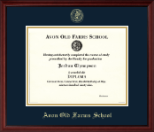 Avon Old Farms School in Connecticut Diploma Frame - Gold Embossed Diploma Frame in Camby