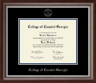 College of Coastal Georgia Diploma Frame - Silver Embossed Diploma Frame in Devonshire