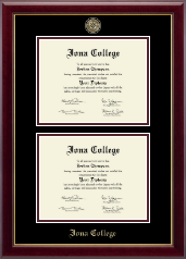 Iona College Masterpiece Medallion Double Diploma Frame in Gallery