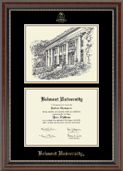 Belmont University Campus Scene Diploma Frame in Chateau