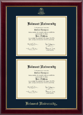 Belmont University Double Diploma Frame in Gallery