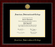 American International College Gold Engraved Medallion Diploma Frame in Sutton