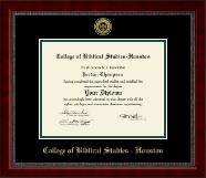 College of Biblical Studies - Houston Gold Engraved Medallion Diploma Frame in Sutton