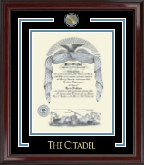 The Citadel The Military College of South Carolina Showcase Edition Diploma Frame in Encore