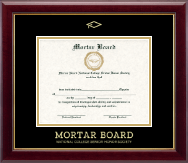 Mortar Board National College Senior Honor Society Gold Embossed Certificate Frame in Gallery