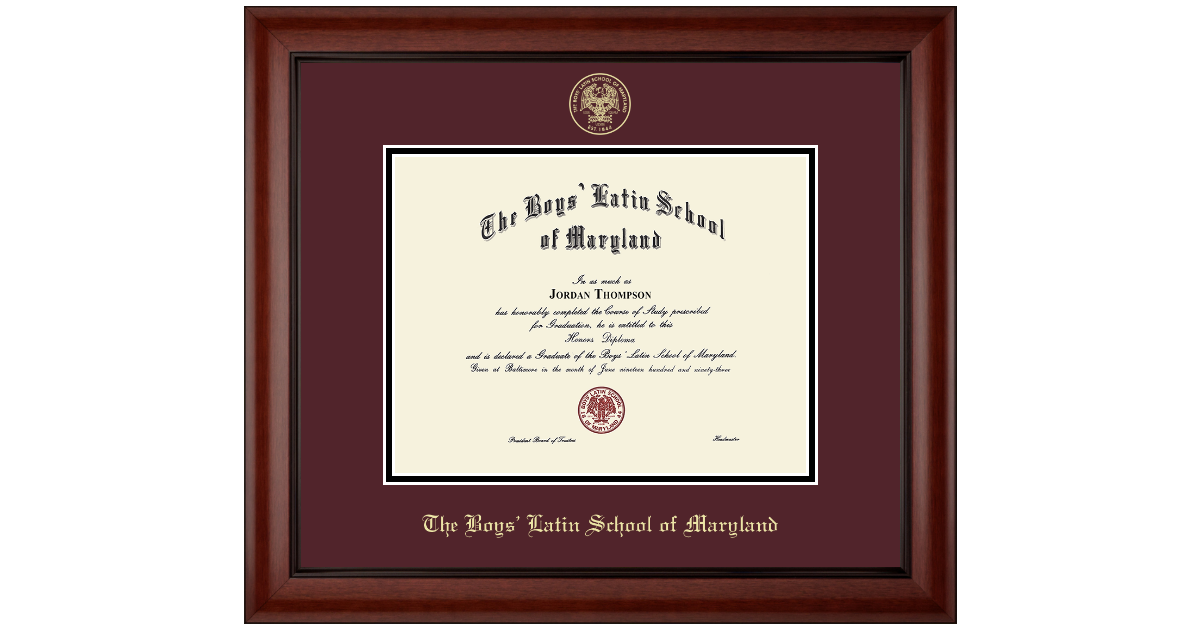 The Boys Latin School Of Maryland Gold Embossed Diploma Frame In