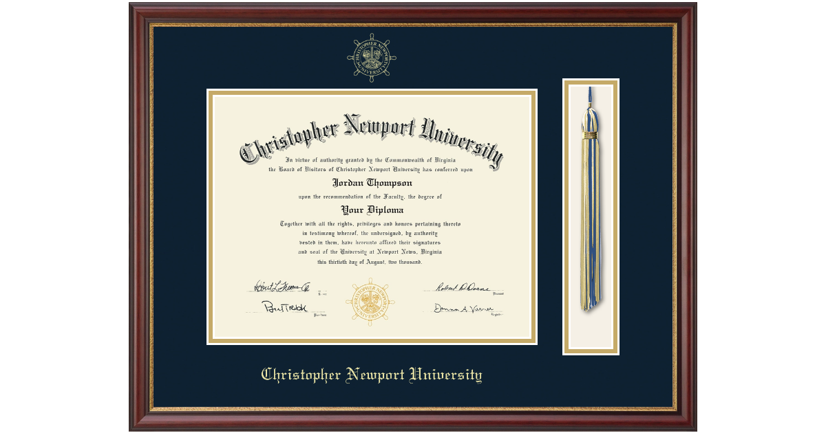 Christopher Newport University Tassel Diploma Frame In