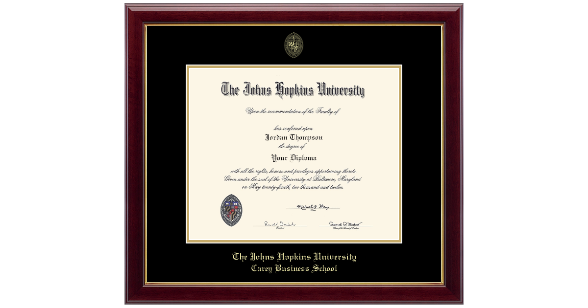 Johns Hopkins University Gold Embossed Diploma Frame In