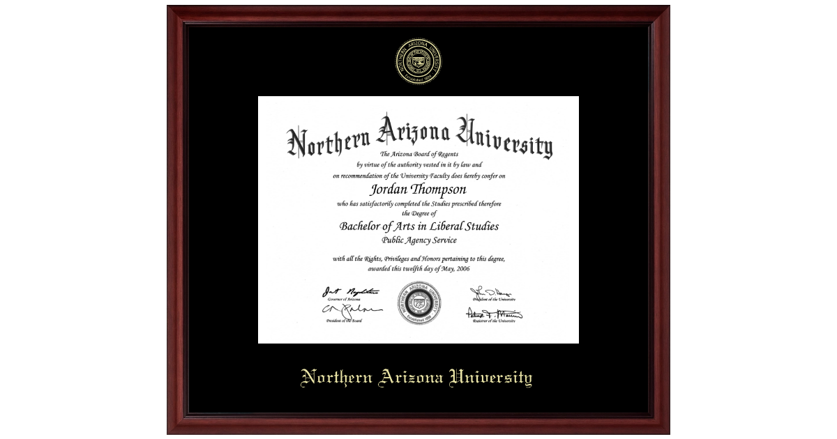 Northern Arizona University Gold Embossed Diploma Frame In
