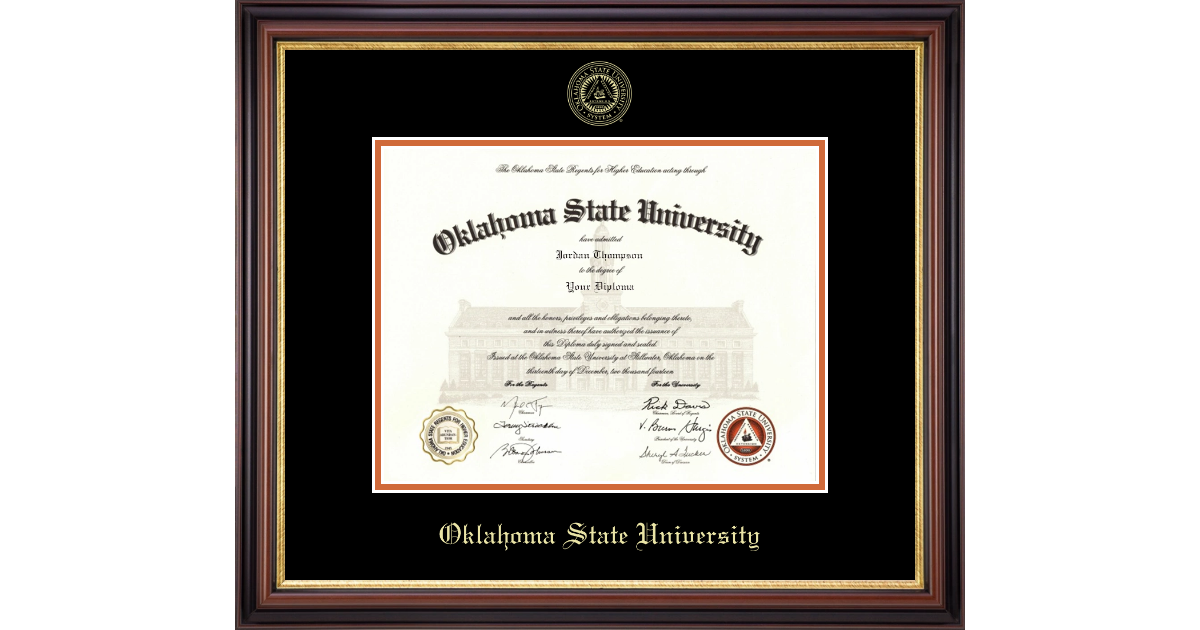 Oklahoma State University Gold Embossed Diploma Frame In