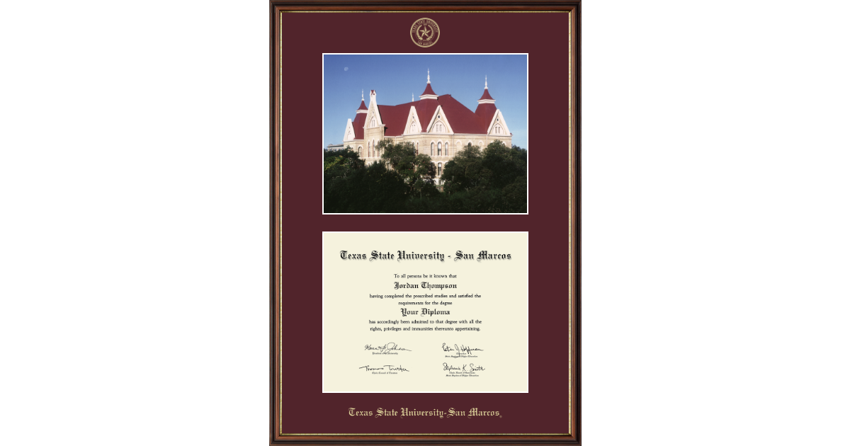 Texas State University San Marcos Campus Scene Diploma Frame in ...