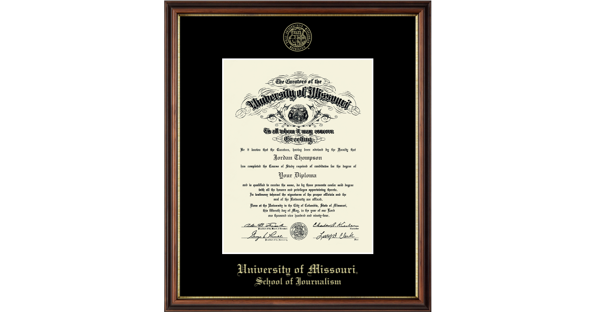 University Of Missouri Columbia Gold Embossed Diploma