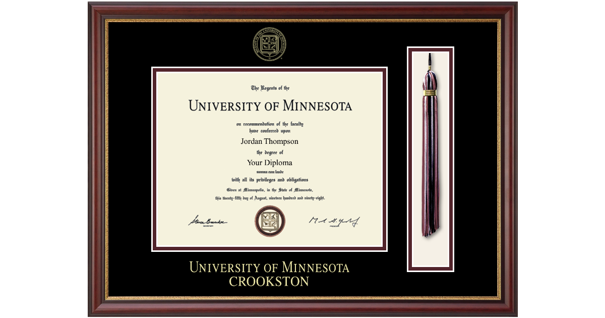 University Of Minnesota Crookston Tassel Diploma Frame In