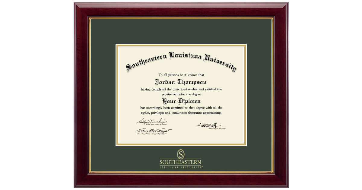 Southeastern Louisiana University Gold Embossed Diploma