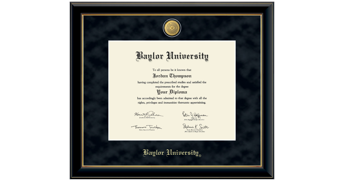 Baylor University 23k Medallion Diploma Frame In Onyx Gold