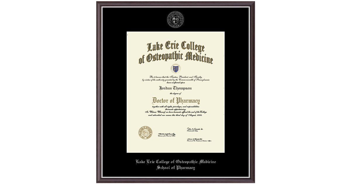 Lake Erie College Of Osteopathic Medicine Silver Embossed