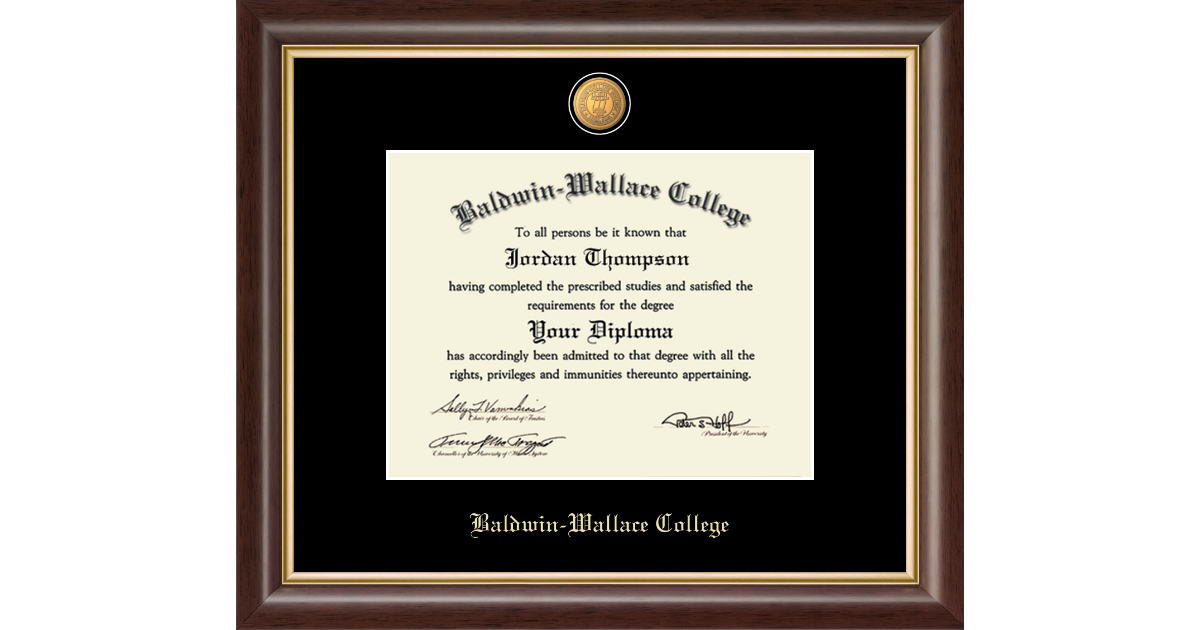 Baldwin Wallace College 23k Medallion Diploma Frame In