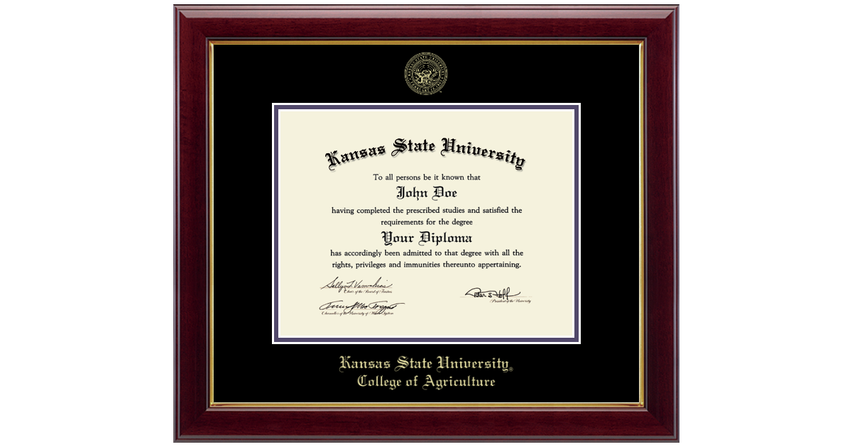 Kansas State University Gold Embossed Diploma Frame In